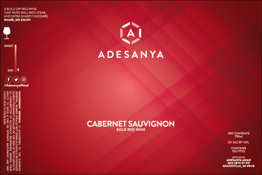 Cabernet Sauvignon Wine Label at Adesanya Mead and Microbrewery