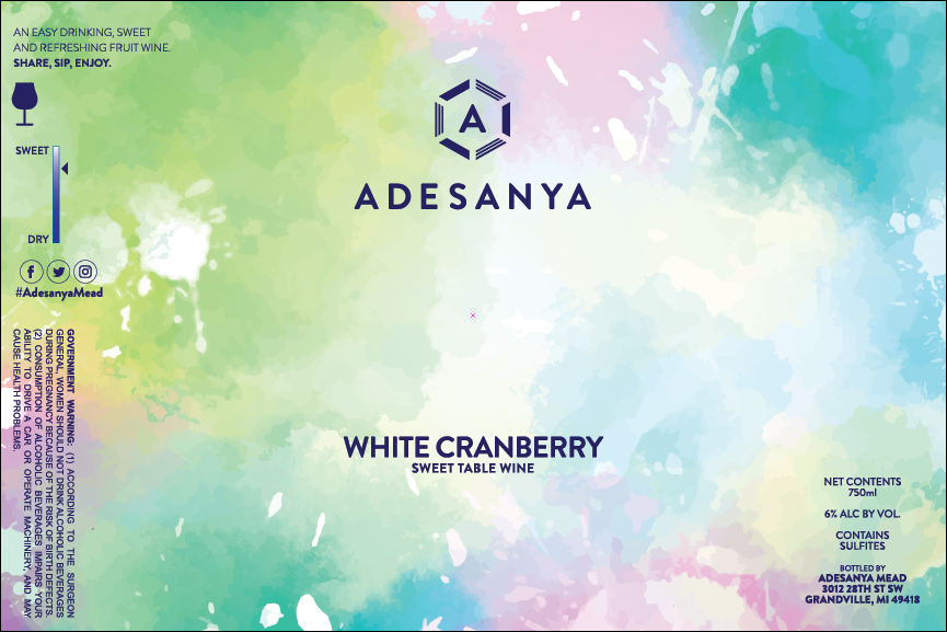 White Cranberry Wine Label at Adesanya Mead and Microbrewery